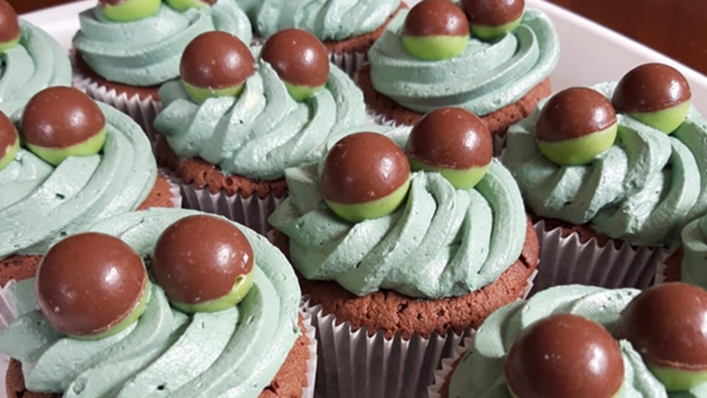 Image of Mint and Chocolate Cupcakes Topped with Aero