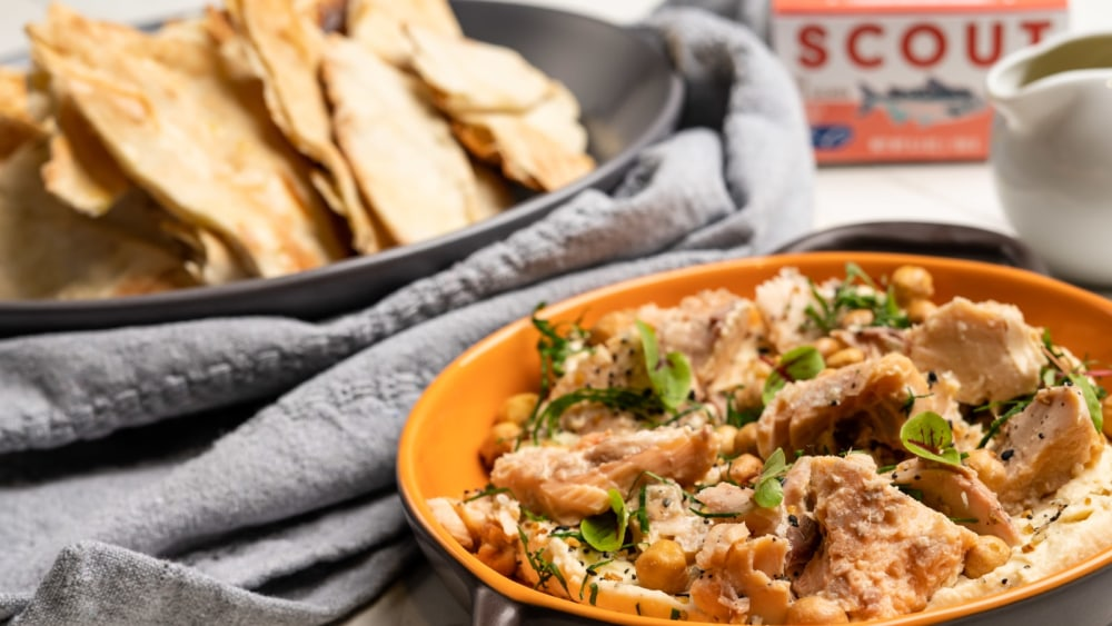 Image of Smoked Salmon with Roasted Garlic Chickpea Dip