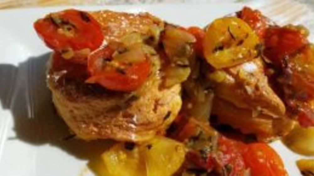 Image of Tomato Cobbler with Distinctive Biscuits
