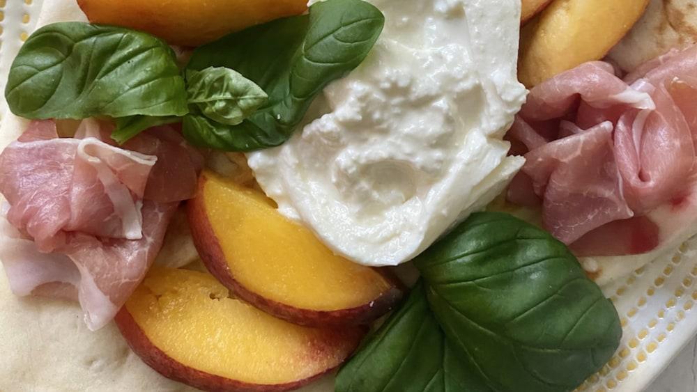 Image of Peach, Burrata, & Prosciutto Flatbread