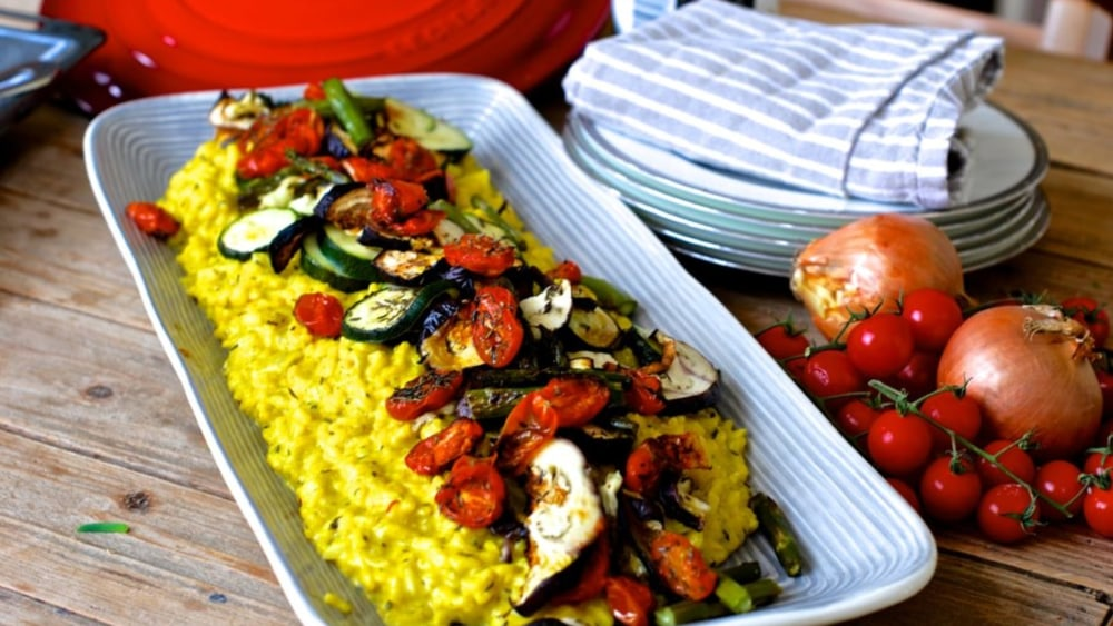 Image of Saffron risotto with roasted vegetables
