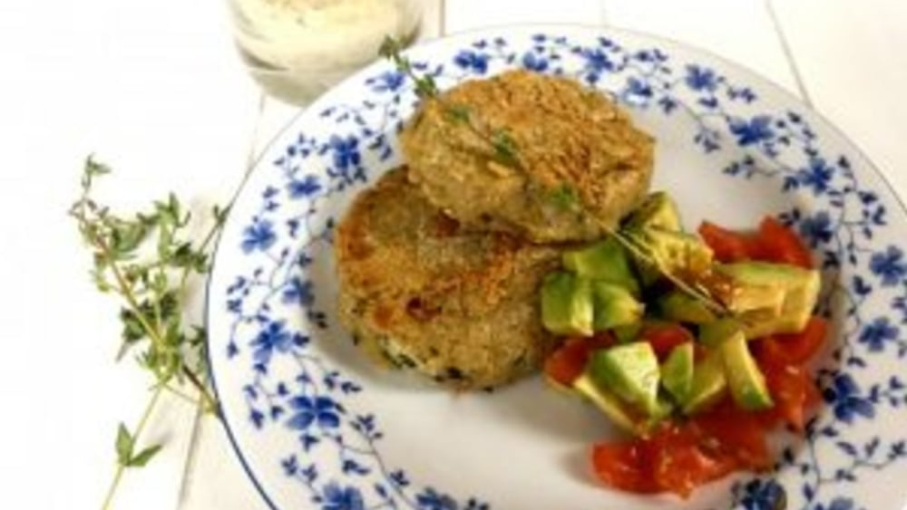 Image of Artichoke chickpea patties with cashew thyme cream