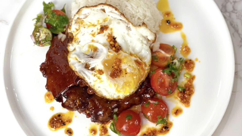Image of Tocino with Rice (Tocilog) and Tomato Salad