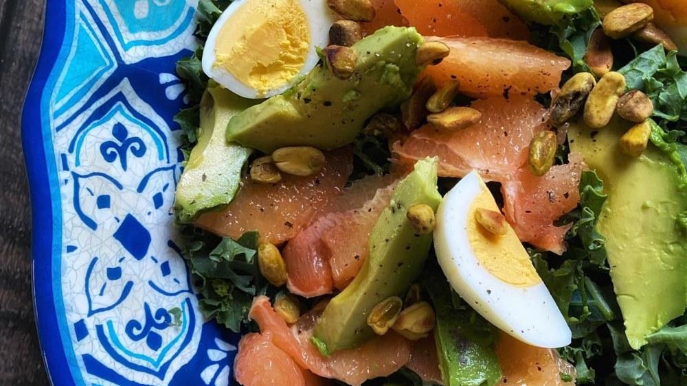 Image of Kale, Grapefruit and Avocado Salad with Grapefruit Lime Vinaigrette