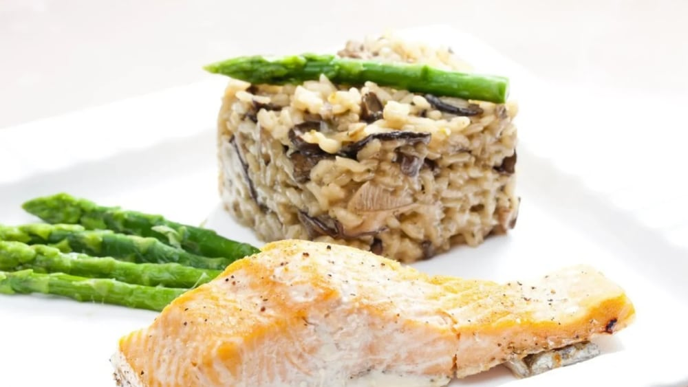 Image of Pan Fried Salmon with Venison Salami Risotto