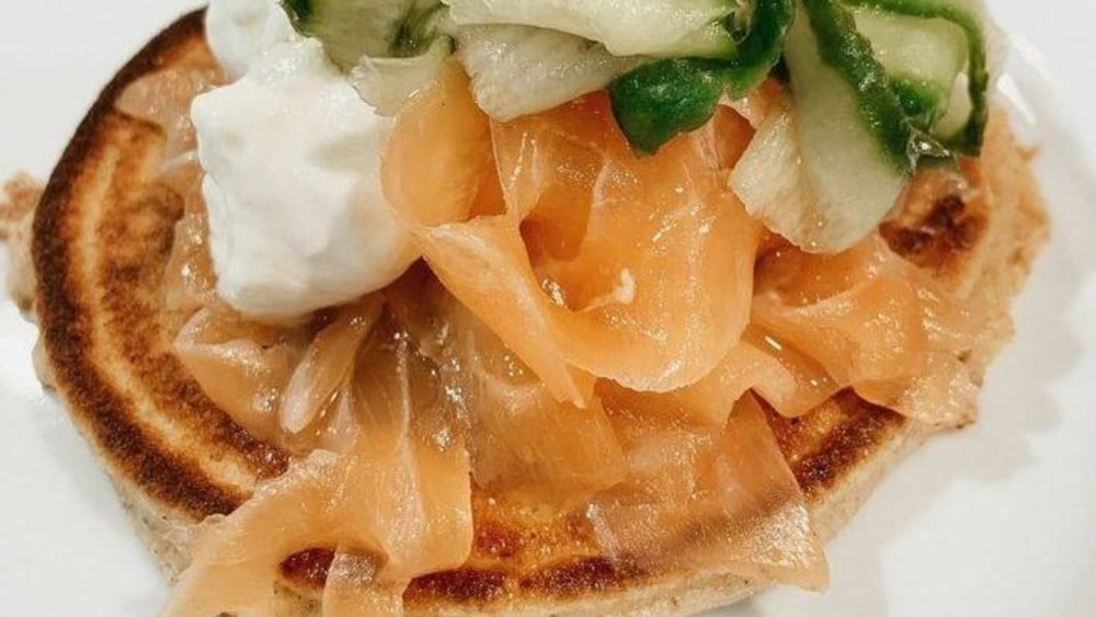 Image of Kenny Tutt's Spelt Blini with Smoked Salmon, Pickled Cucumber & Balsamic Vinegar
