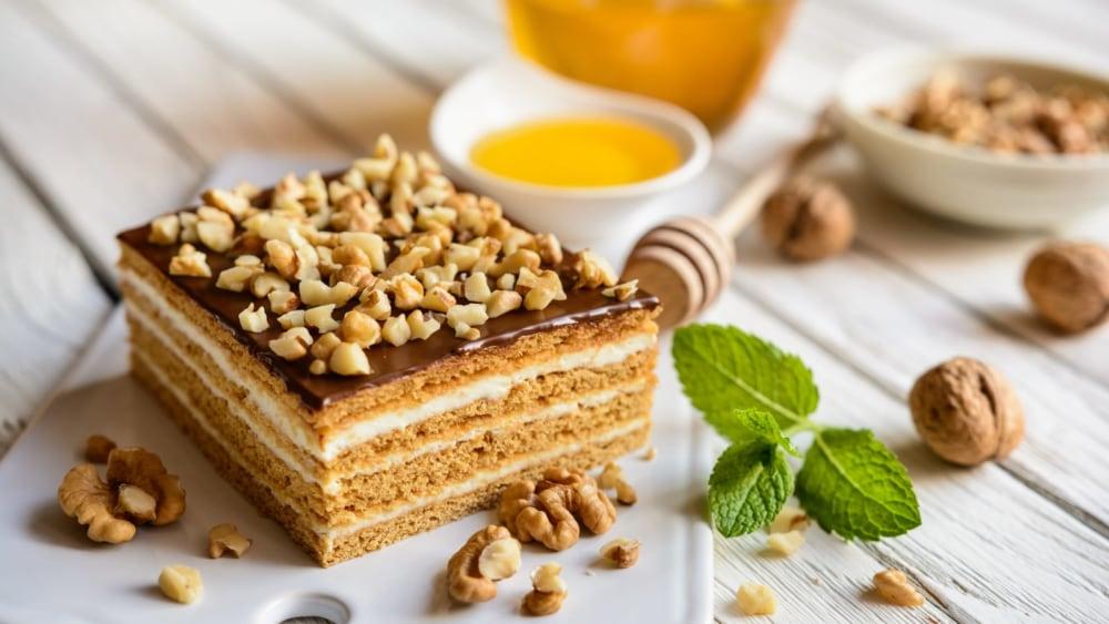 Image of Hungarian Honey Slice - Zserbó Cake