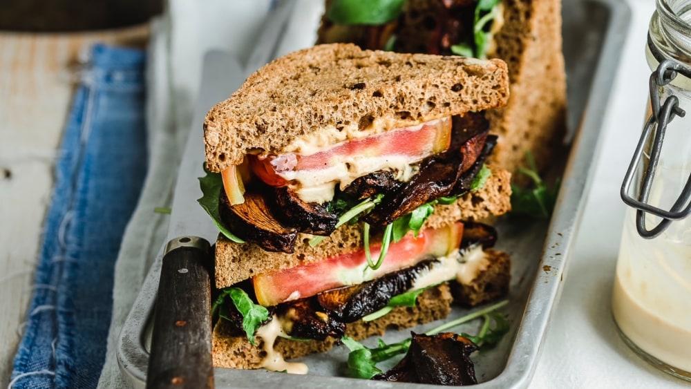 Image of Portobello club sandwich with cashew 'mayo'