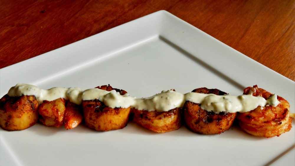 Image of Spicy King Trumpet and Shrimp Skewers