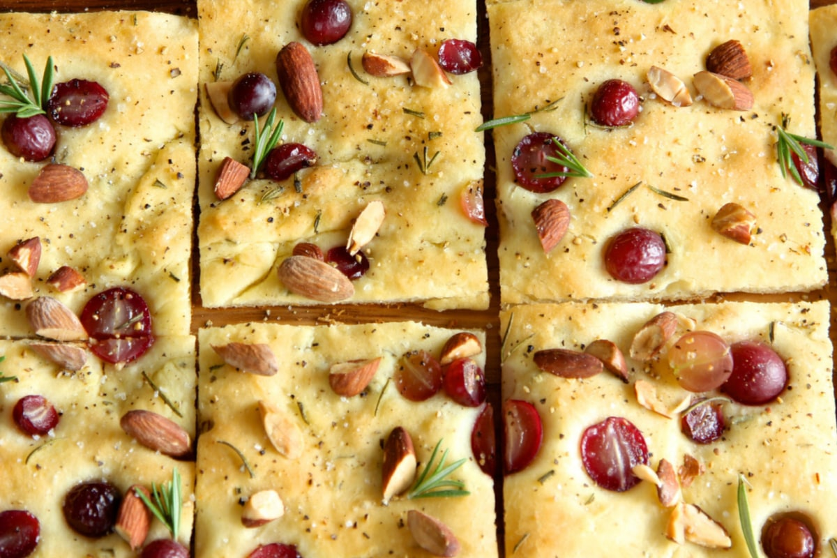 Image of Roasted Almond Focaccia With Grapes And Rosemary