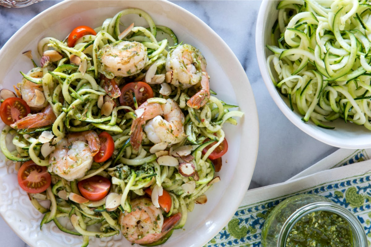 Image of Zucchini Noodles And Grilled Shrimp With Almond Lemon Basil Dressing