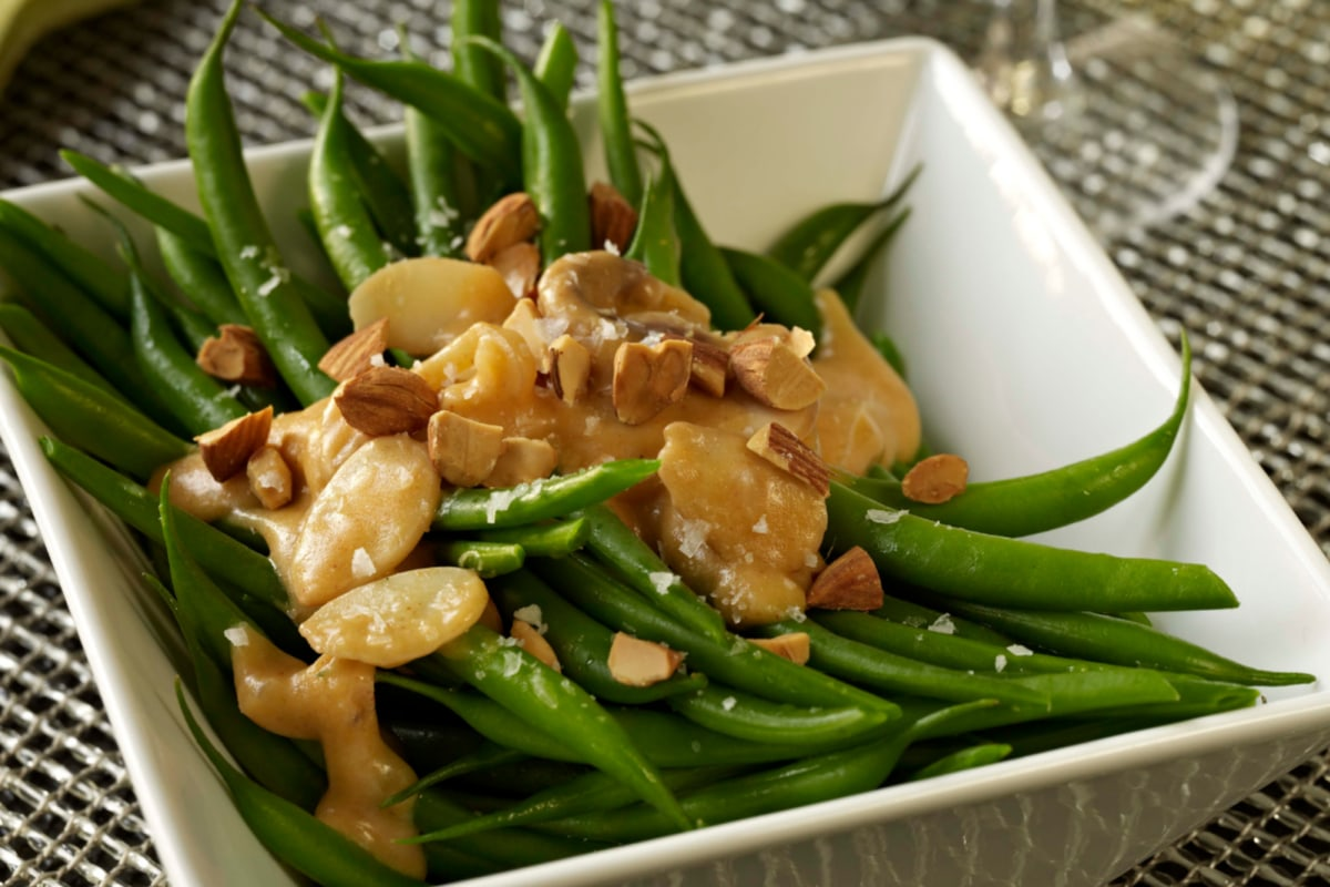 Image of Roasted Green Beans With Almond Brittle