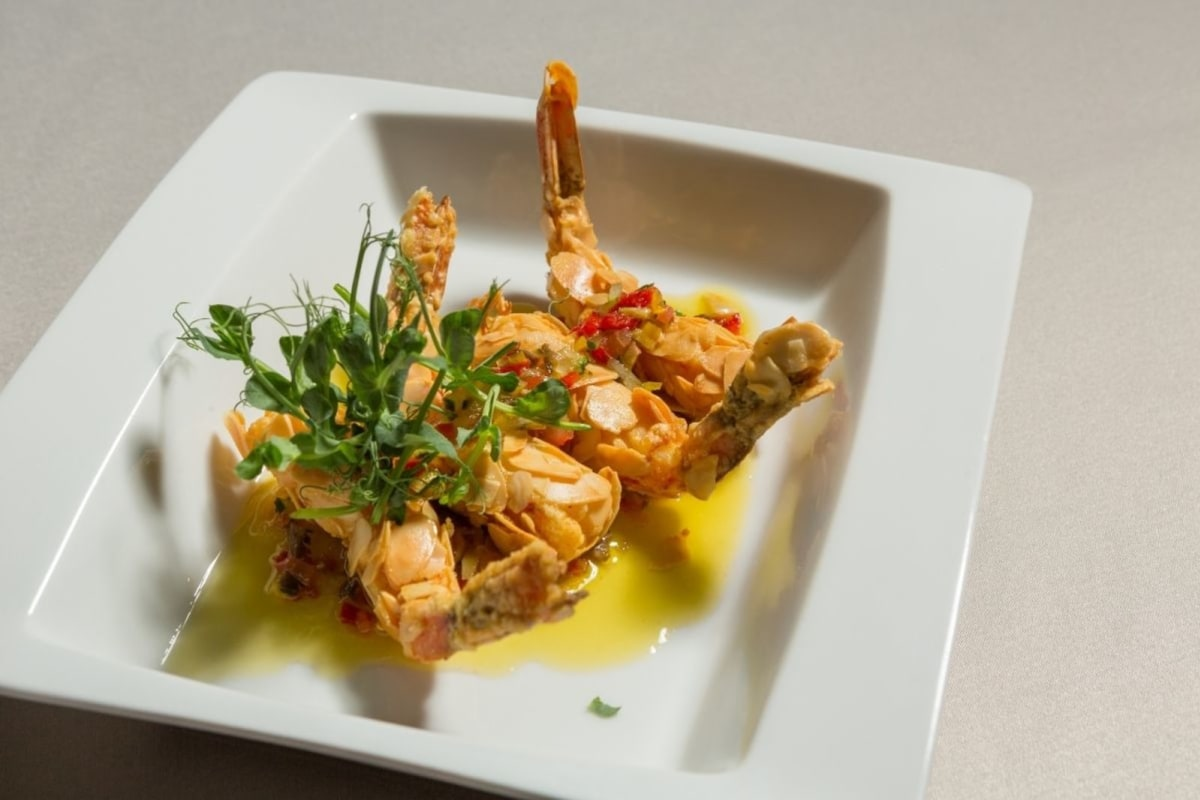 Image of Sauteed Shrimp In Almond Flour Crust With Sweet And Hot Chilis