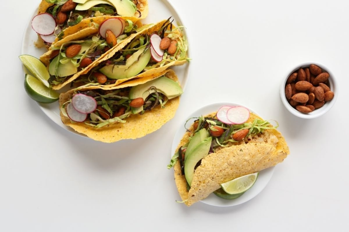 Image of Ground Cauliflower Tacos with Spicy Almonds and Crunchy Slaw
