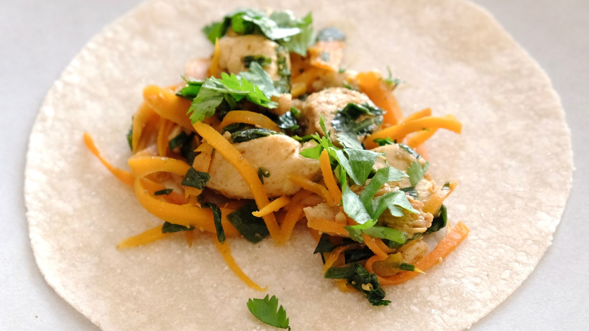Image of Indian-Spiced Low FODMAP Chicken Tortillas