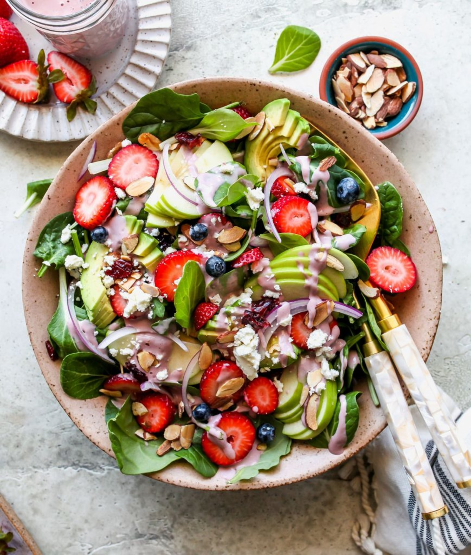 Image of Berry and Spinach Salad with Creamy Strawberry Tahini Dressing