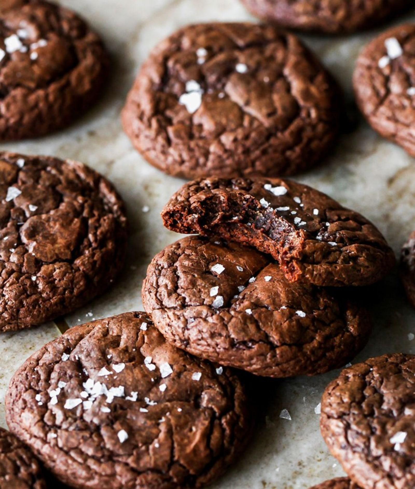 Image of Salted Dark Chocolate Tahini Brownie Cookies