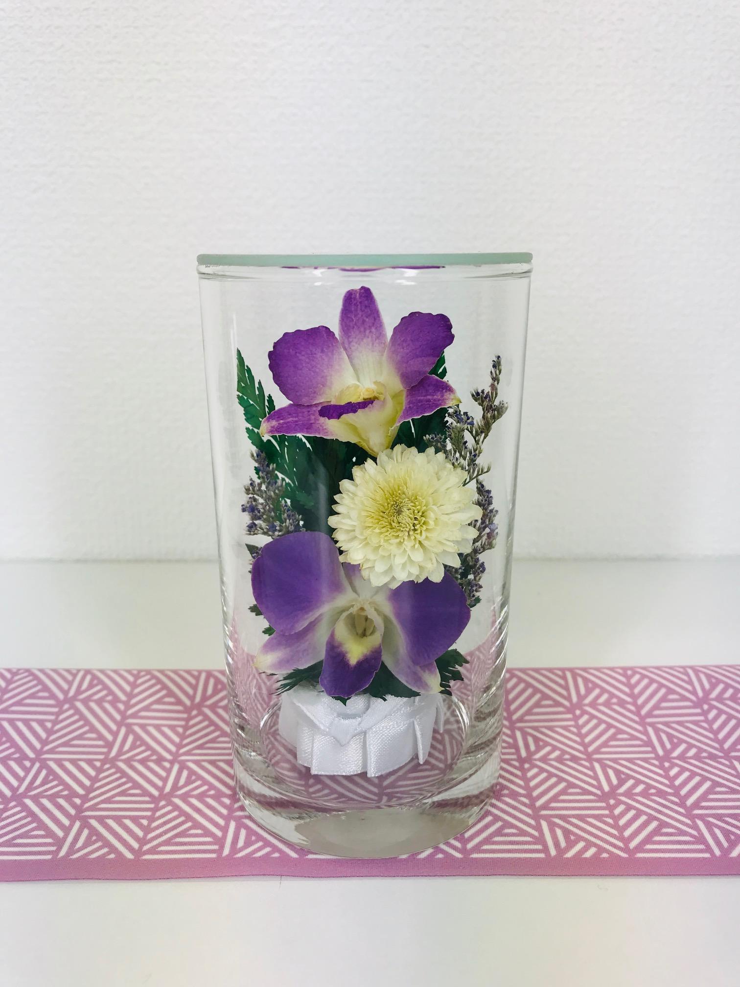 お盆のお供えに 仏花 ドライフラワー 双紫(そうし) 1個 - 1