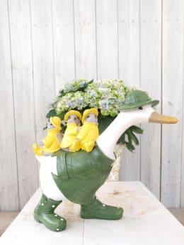 ガーデンオーナメント アヒルと小鳥