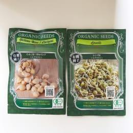 数日で収穫 有機種子レンズ豆&ひよこ豆 各5回分(栽培容器無し)