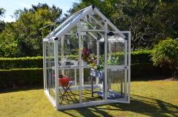 アルミ製ガラス温室 チャッピーB-1型 1坪タイプ ホワイト  CYP-B2G 1800×1800×2372