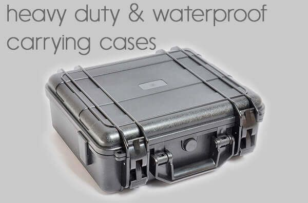 heavy duty<BR>waterproof carrying cases.