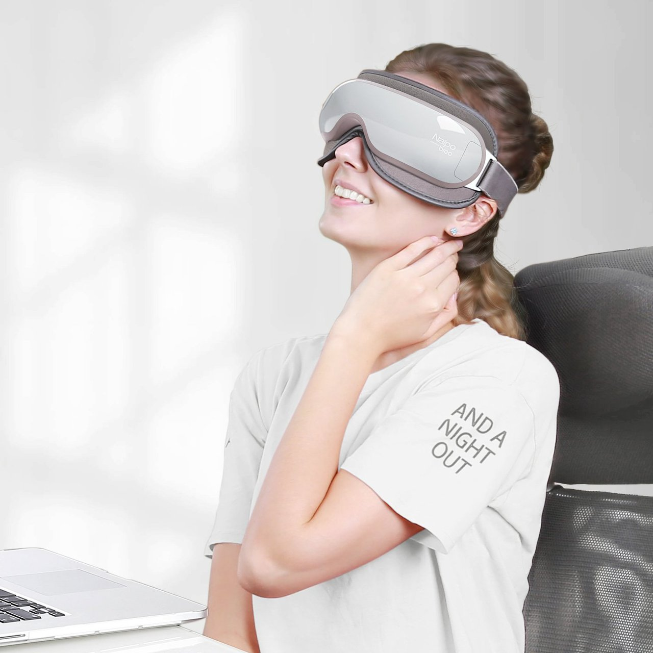 Naipo Breo Eye Massager with Heating and Music, Compression Three Modes, Eye Care Stress Relief