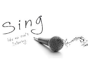 A microphone with sing text