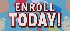enroll today with blue background
