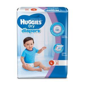 Huggies Baby Diaper Dry L, 8-13kg, 60pcs Belt System, Malaysia