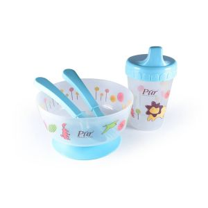 Pur Weaning Set (Drinking Cup, Non Spill Bowl, Spoon, Fork) Code-5910-A Blue
