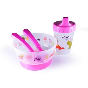 Pur Weaning Set (Drinking Cup, Non Spill Bowl, Spoon, Fork) Code-5910-B Pink