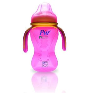 Pur 8 oz 250ml Natural Extension Multi Grasp Drinking Cup (3 Handle) Code-9004-A pink