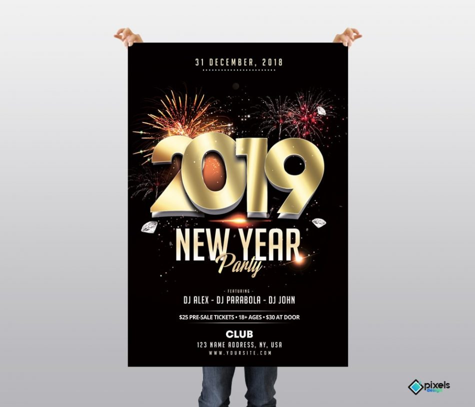 2019 New Year – Elegant Free PSD Flyer Template
