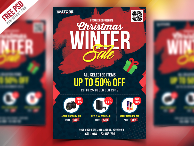 Winter Sale Flyer PSD Template