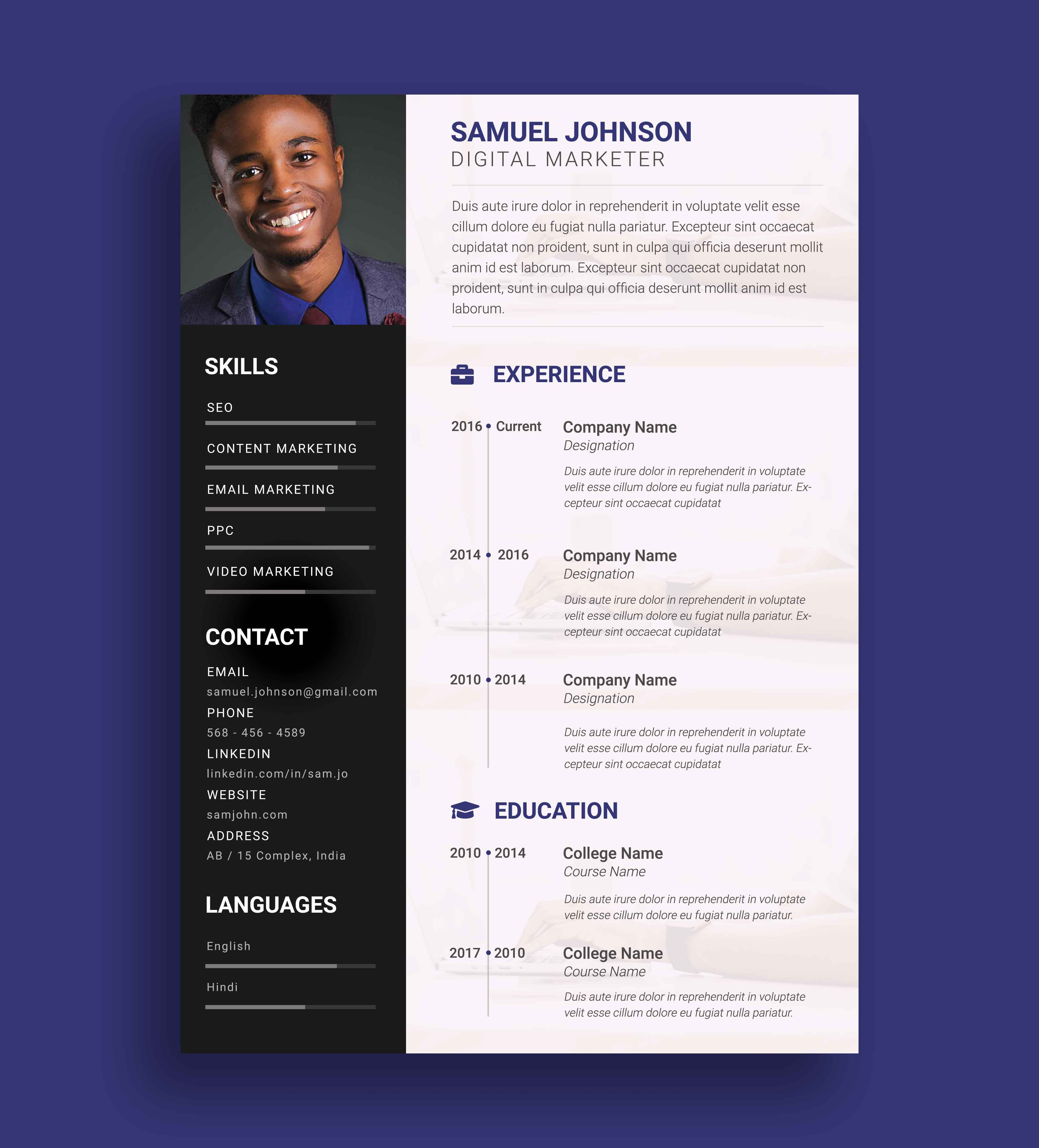 Free Personal Resume PSD Template