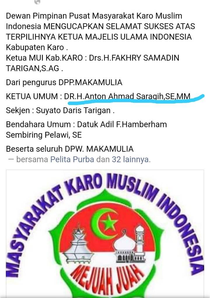 Ucapan Selamat saat Anton Saragih sebagai Ketua DPP MAKAMULIA