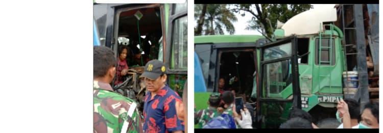Sopir Bus Pariwisata yang Terjepit Usai Bertabrakan dengan TRuck Fuso di Jalan Asahan