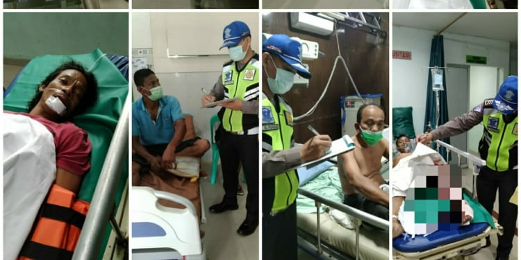 Korban Lakalantas antara Bus Pariwisata dan Tuck Fuso di Jalan Asahan, Kecamatan Siantar Kabupaten Simalungun