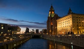 Azamara Club Cruises Liverpool Royal Liver building at night