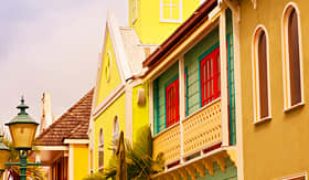 Carnival Cruise Lines bright colorful buildings in a Caribbean city