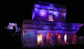 Carnival Cruise Lines Mayan Ruins of Tulum at night
