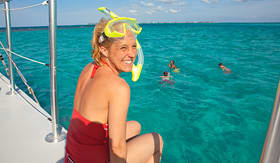 Carnival Cruise Lines women on boat ready to snorkel