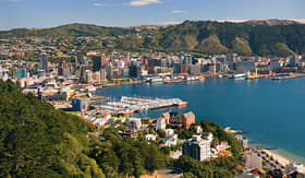 Celebrity Cruises aerial view of city of Wellington waterfront with harbor