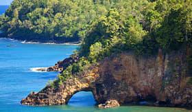 Celebrity Cruises land bridge over ocean St Lucia