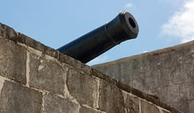Celebrity Cruises pirates barrel of artillery at Fort Montagu Nassau