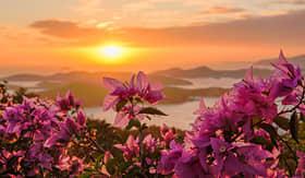 Celebrity Cruises sunset over the harbor of Charlotte Amalie St Thomas USVI
