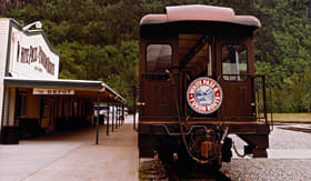 Celebrity Cruises White Pass scenic railway train in train depot