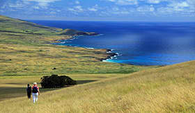 Crystal Cruises hiking Easter Island in the South Pacific