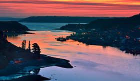 Crystal Cruises Puerto Montt port at sunset Chile